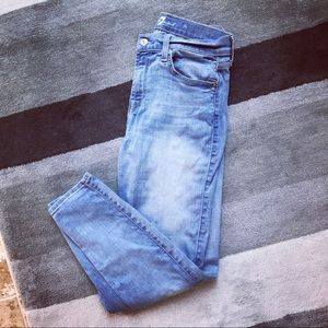 7 for All Mankind Light Washed Cropped Skinny